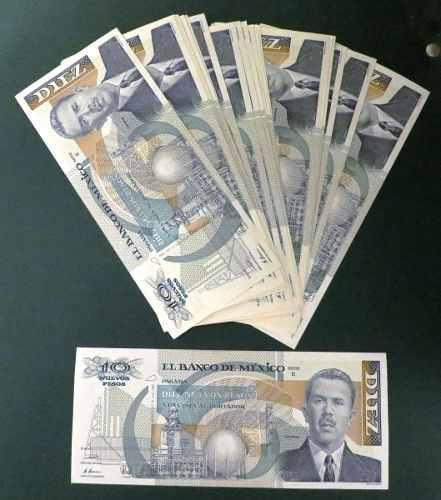 Billete antiguo de 10 nuevos pesos sin circular banco de mex