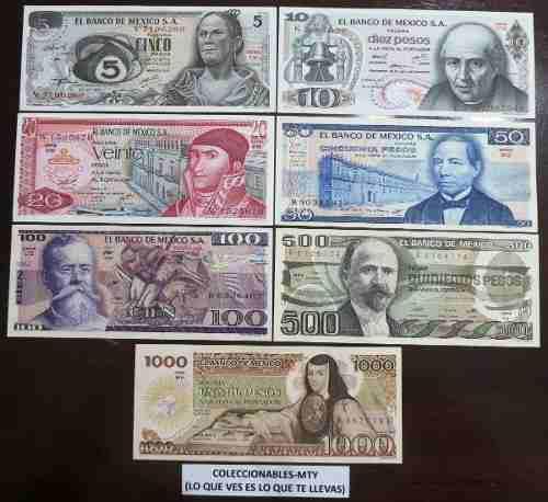 Billetes antiguos 7 billetes sin circular banco de mexcio