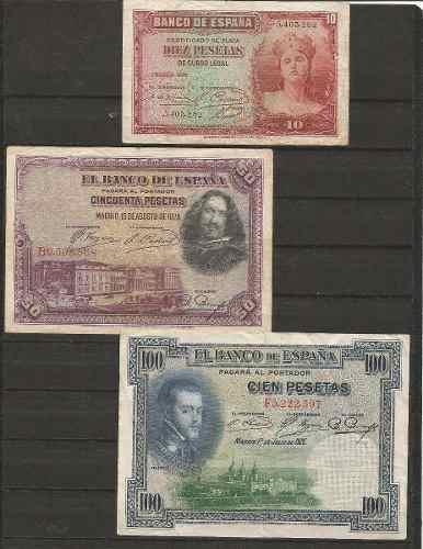 Colección de 3 billetes de españa antiguos