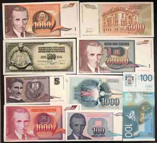Colección de 9 billetes con nicola tesla