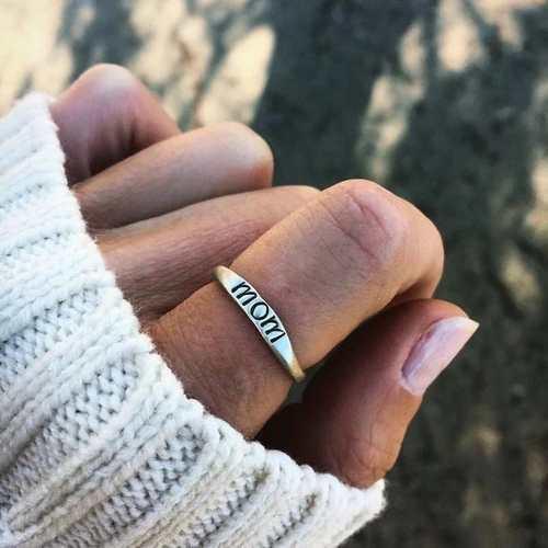 Moda vendimia 925 libra esterlina plata mamá carta anillo
