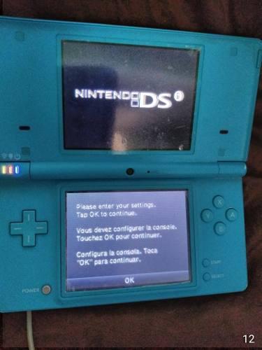 Nintendo ds azul con 10 juegos