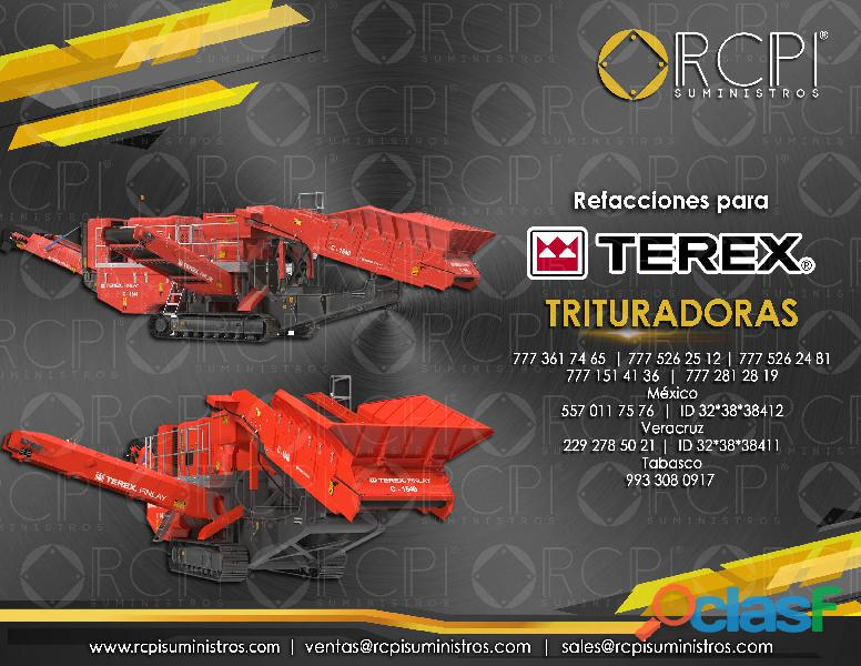 Refacciones para trituradoras Terex