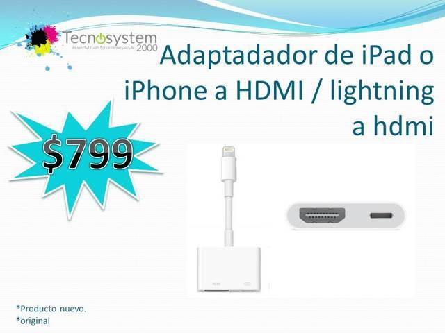 Adaptadador de ipad o iphone a hdmi / lightning a hdmi