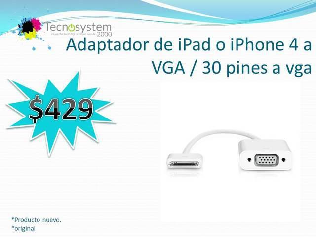 Adaptador de ipad o iphone 4 a vga / 30 pines a vga