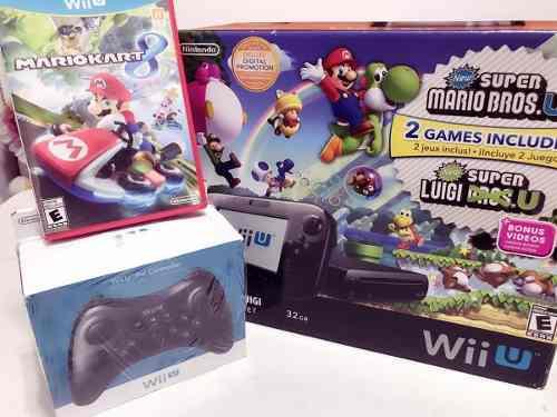 Nintendo wii u súper mario bros deluxe set 32 gb + m kart 8