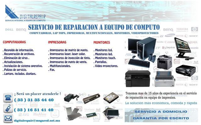 Reparacion de monitores, lec, led, touch servicio a domiclio
