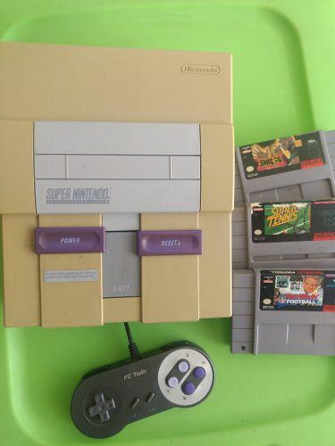 Super nintendo snes videojuego 3 juegos consola