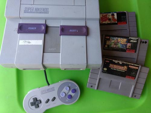 Super nintendo snes videojuego consola 3 juegos