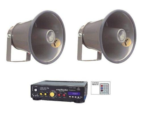 Kit perifoneo voceo amplificador usb mas 2 trompetas 620