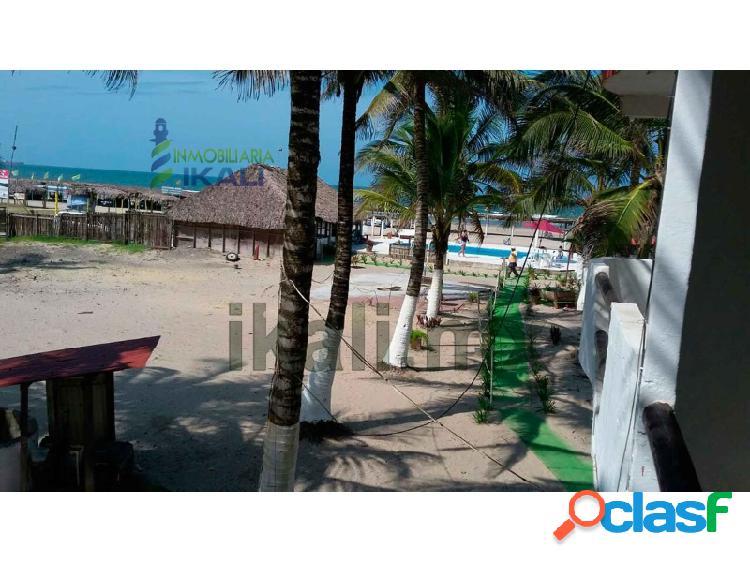 Renta hotel 10 habitaciones frente mar playa tuxpan veracruz, la barra norte