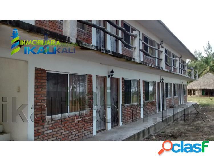 Venta de hotel en la playa frente al mar tuxpan veracruz 12 habitaciones amuebladas, la barra norte