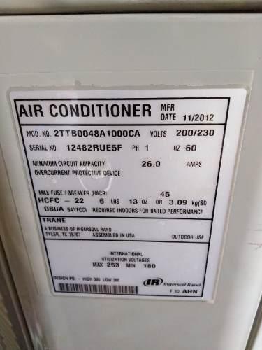Aire acondicionado, 4 toneladas, trane, sistema fan coil.