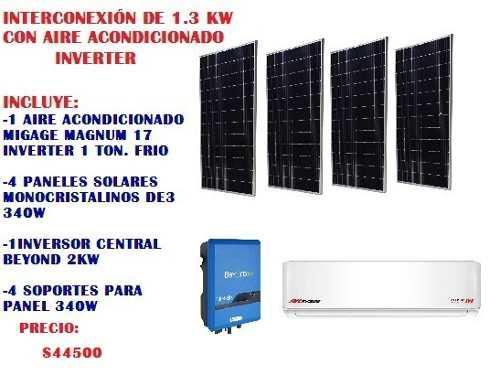 Aire acondicionado inverter con sistema de paneles solares