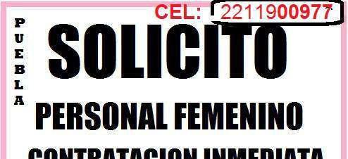 Contratacion INMEDIATA EN PUEBLA PAGO DIARIO