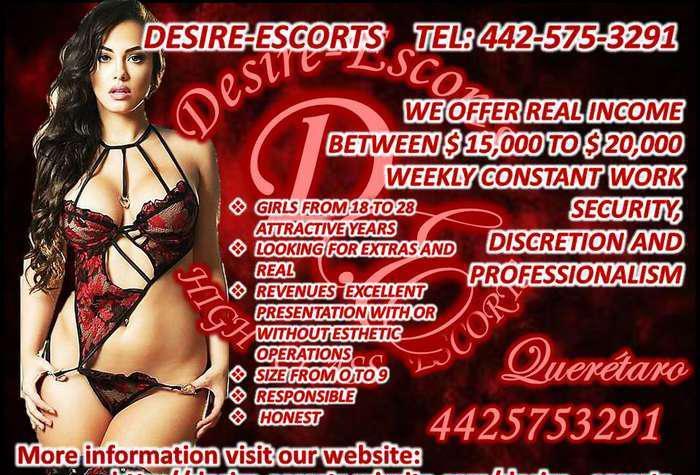 DESIRE-ESCORTS looking for beautiful girls. 18-30 years