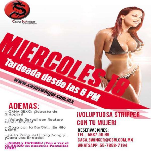 Miércoles 18 en CSW: ¡Voluptuosa Stripper con TU MUJER!