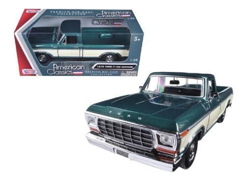Motor max classic 1/24 ford f-150 1979 custom verde / blanco