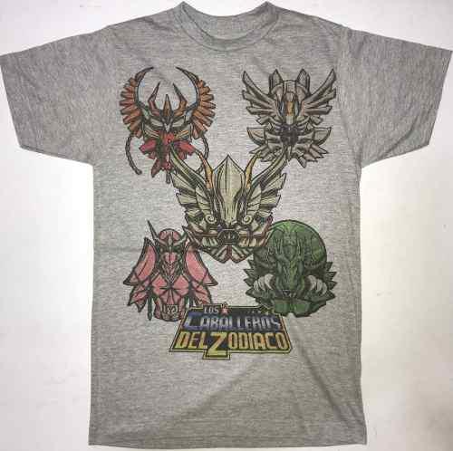 Playera caballeros del zodiaco armadura gris jaspe manga/c