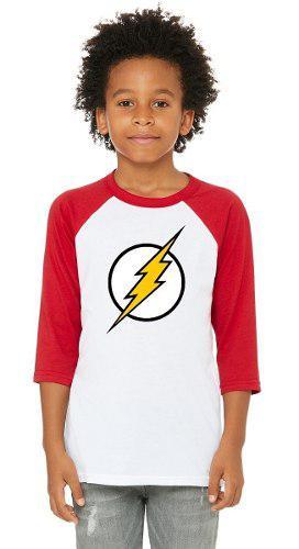 Playera flash niños 3/4, playeras super heroes, dc comics