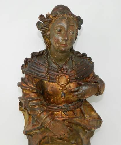 Antigua figura tallada madera policromada hoja oro virgen