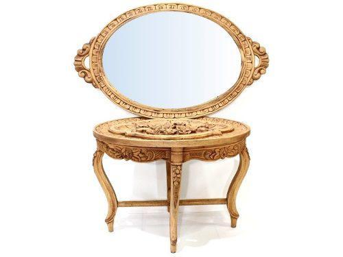 Antigua Mesa Luis Xv Con Espejo Labrada En Madera De Cedro