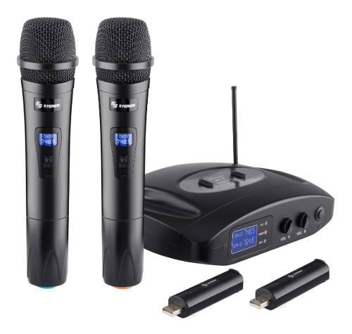 Sistema profesional 2 micrófonos inalámbricos uhf