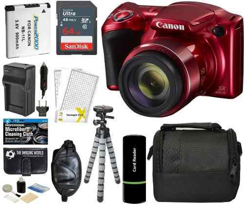 Cámara digital canon powershot sx420 is roja con zoom