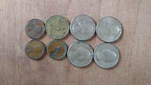 Liberty, quarter dollar, penny, lote de monedas extranjeras