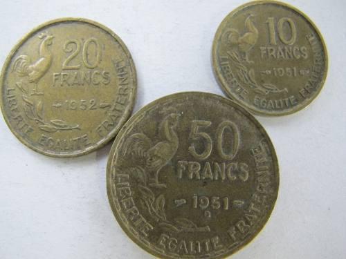 Monedas extranjeras francia gallo 50,20, 10 francos abc