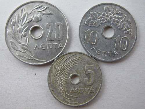 Monedas grecia 5, 10 y 20 lepta monedas extranjeras abc
