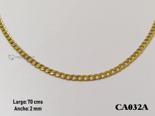 Cadena barbada 70cms 2mm acero inoxidable dorado