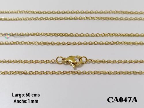 Cadena oval 60cms 1mm acero inoxidable dorado