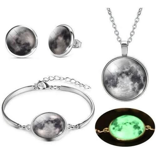 Luna brilla en oscuridad set completo collar pulsera aretes