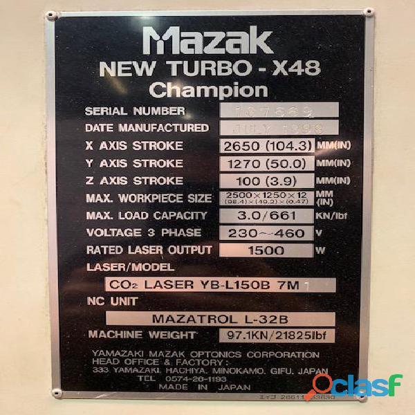 Cortadora laser cnc mazak new turbo x48 champion año 1998