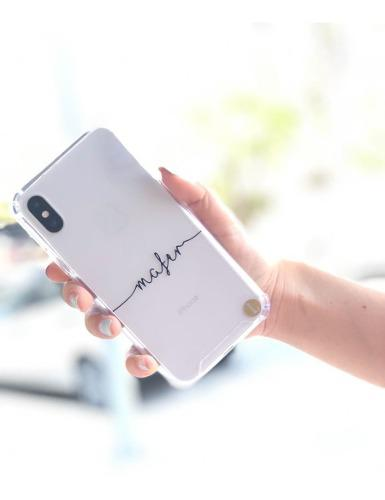 Funda transparente con nombre personalizado iphone samsung en