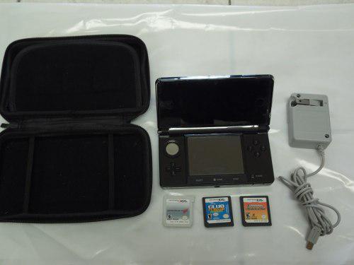 Nintendo 3ds old, color negro, incluye 3 juegos