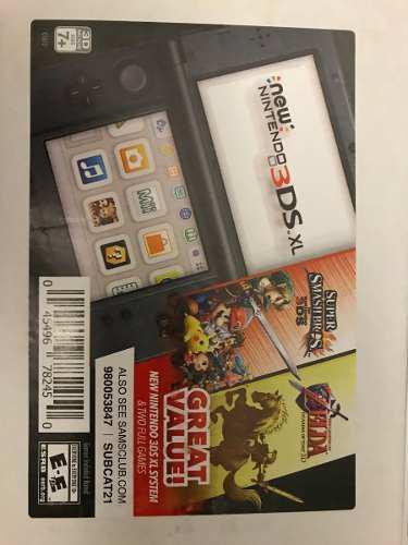 Nintendo 3ds xl 3d - negro con dos juegos