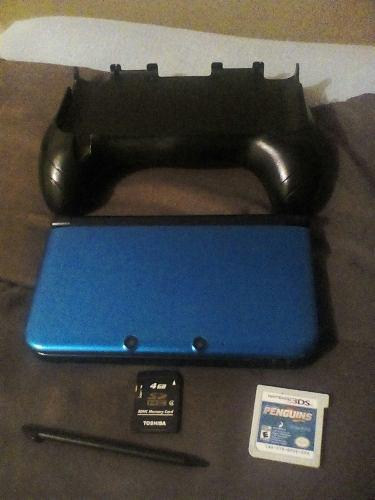Old nintendo 3ds xl azul + 1 juego + handgrip