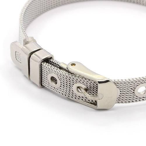 Pulsera, brazalete, acero inoxidable estilo cinturón