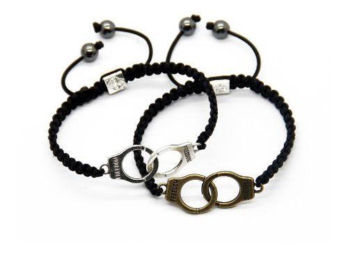 Set 2 pulseras para pareja esposas, 14 de febrero macrame
