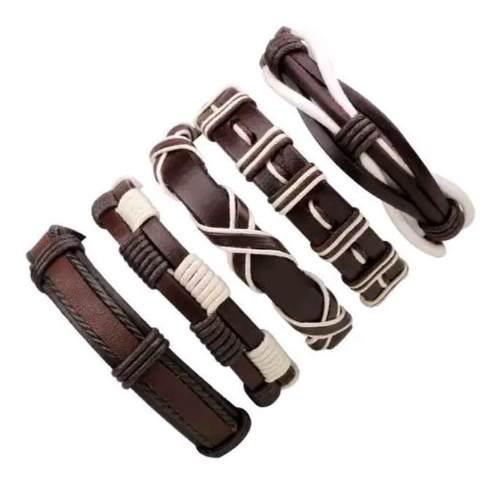 Set 5 pulseras cuero hombre mujer brazalete moda vintage