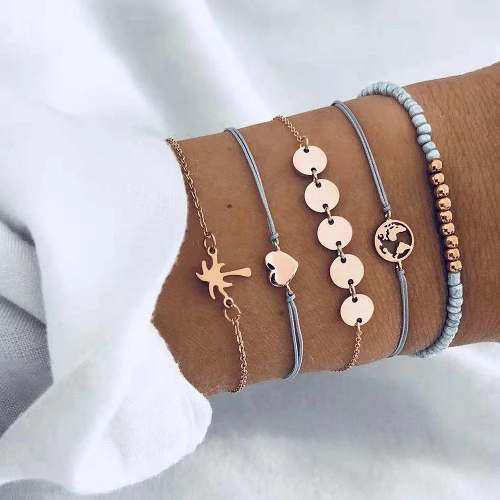 Set de 5 pulseras adornos vintage para mujer a buen precio