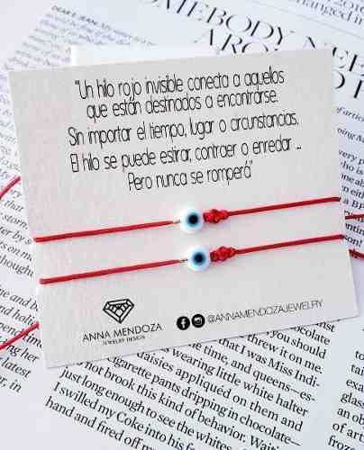 Set pulseras hilo rojo pareja nudo eterno infinito ojo turco