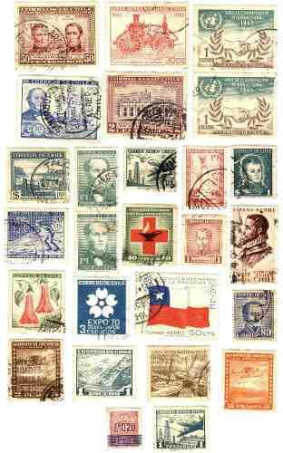 Estampillas postales usadas de chile