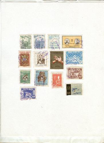 Estampillas postales usadas de costa rica
