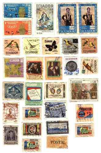 Estampillas postales usadas de ecuador