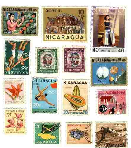 Estampillas postales usadas de nicaragua y jamaica