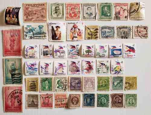 Filipinas 45 estampillas postales diferentes timbres