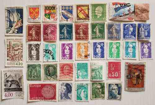 Francia 37 estampillas postales diferentes timbres